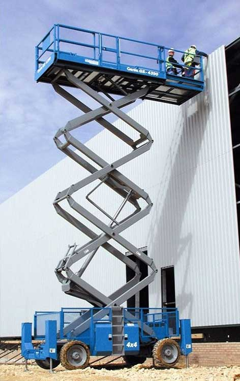 15m Diesel Scissor Lift Hire being used to gain access at height