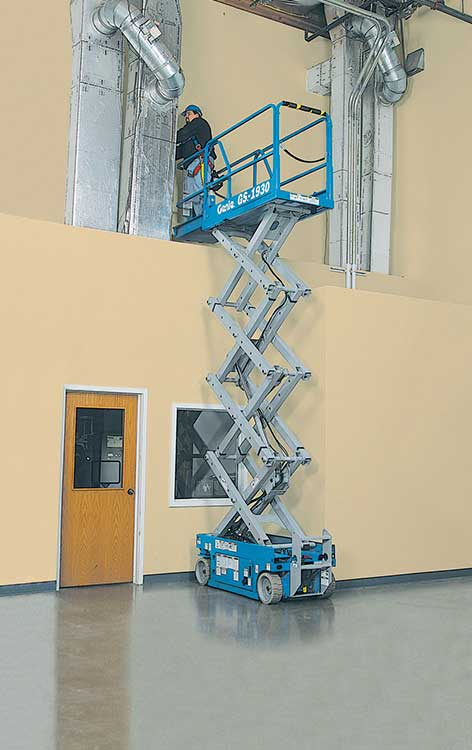 This 8m Scissor Lift Hire Platform is ideal for working at height indoors