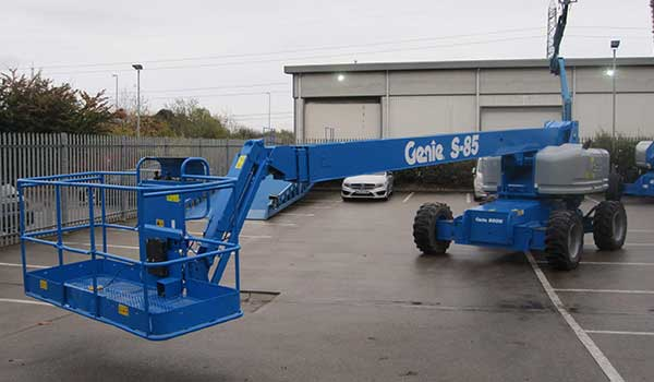 Genie telescopic cherry picker aerial platform waiting to be despatched from a hire depot
