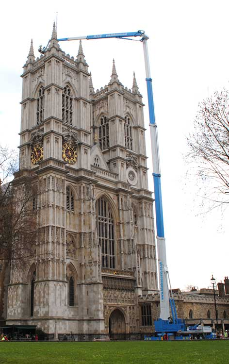 A 103m truck mounted platform gives access to the roof at Westminster abbey so roof repairs can be carried out