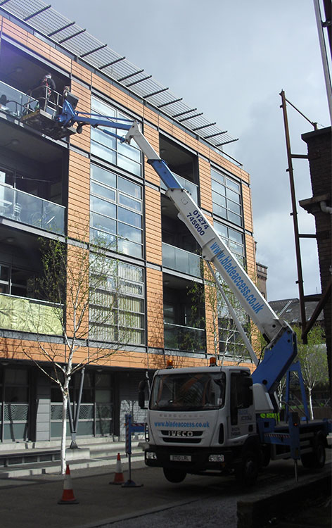 A  22m truck mounted platform being used to install glazing