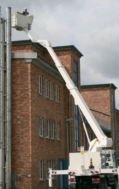A 22m truck mounted platform provides access to a building vent