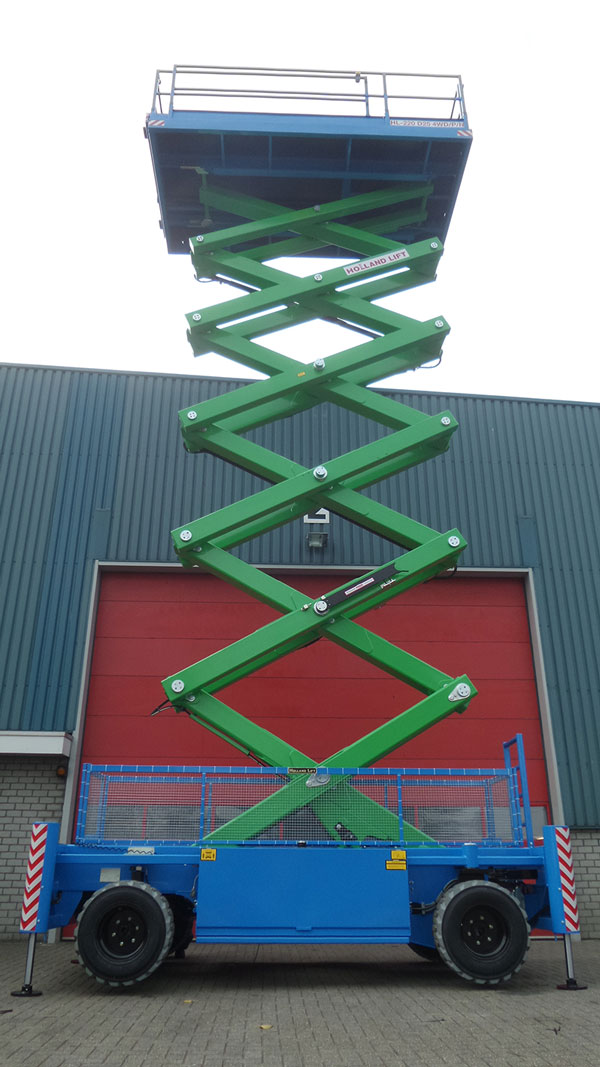 19m Diesel Scissor Lift Hire Being Used To Inspect A roof On Rough Terrain